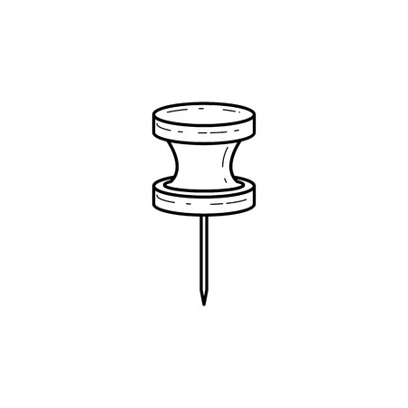 A black and white icon of a push pin.