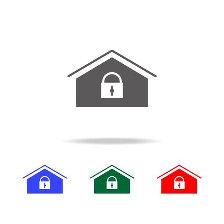 Home lock icon. Elements of cyber security multi colored icons. Premium quality graphic design icon. Simple icon for websites, web design, mobile app, info graphics on white background Ilustração