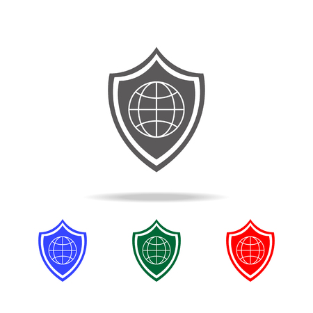 Global Shield icon. Elements of cyber security multi colored icons. Premium quality graphic design icon. Simple icon for websites, web design, mobile app, info graphics on white background