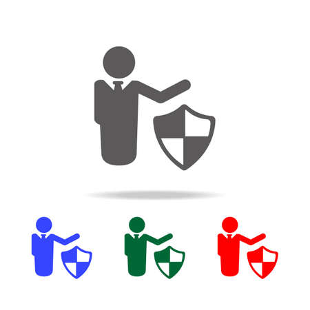 Man Shield and Protect icon. Elements of cyber security multi colored icons. Premium quality graphic design icon. Simple icon for websites, web design, mobile app, info graphics on white background