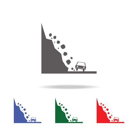 Rock falling on a car icon vector illustration set Иллюстрация