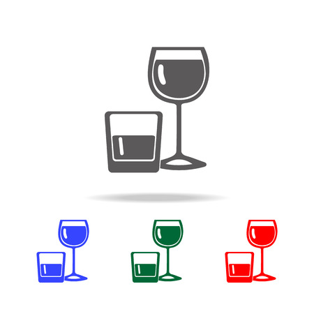 Alcohol in glasses icon vector illustration set