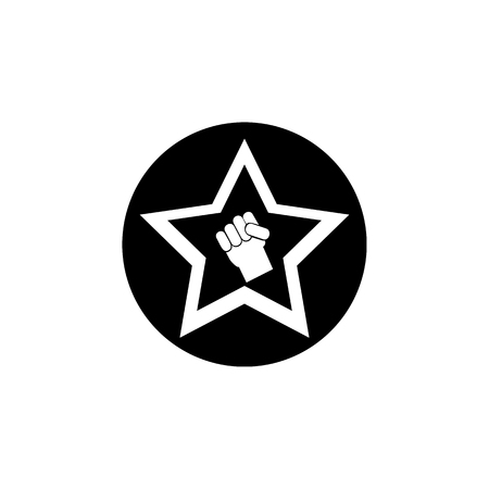 Hand of a worker in a star icon