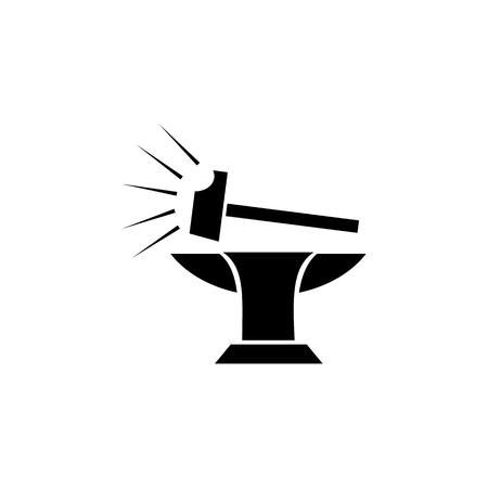 Hammer and anvil icon Illustration