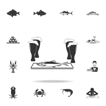 herring to beer icon. Detailed set of fish illustrations on white background.