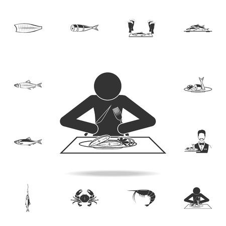 man eats halibut icon. Detailed set of fish illustrations on white background. Illustration