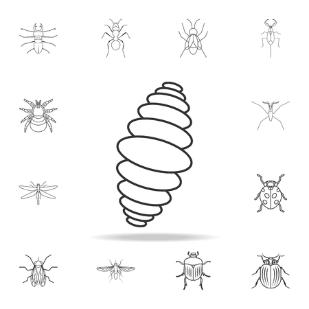 larva icon. Detailed set of insects line illustrations on white background.