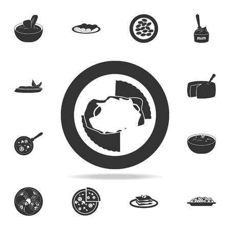 chicken Parmesan icon. Detailed set of Italian foods illustrations on white background.