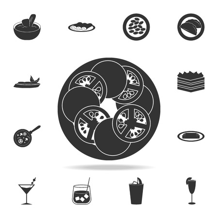 Caprese salad icon. Detailed set of Italian foods illustrations on white background.