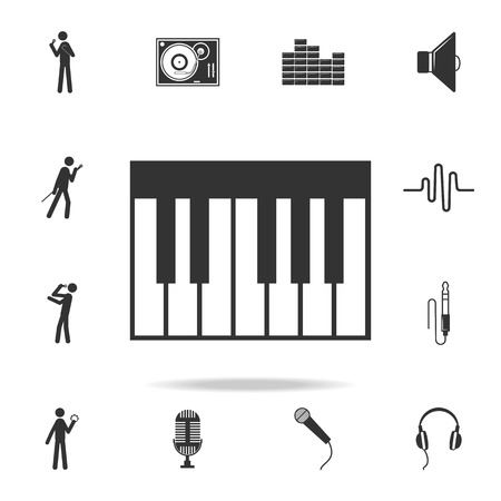 Piano Keyboard Icon app. Detailed set of music icons. Premium quality graphic design. One of the collection icons for websites web design mobile app on white background