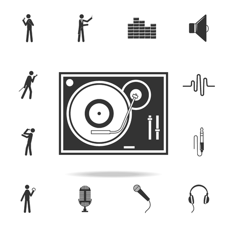 Vinyl record player icon. Detailed set of music icons. Premium quality graphic design. One of the collection icons for websites web design mobile app on white background