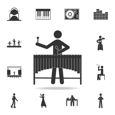 Vibraphone marimba player icon. Detailed set of music icons. Premium quality graphic design. One of the collection icons for websites web design mobile app on white background