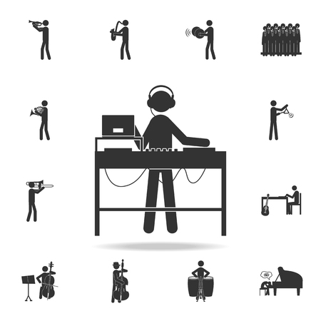 DJ icon. Detailed set of music icons. Premium quality graphic design. One of the collection icons for websites web design mobile app on white background Illustration