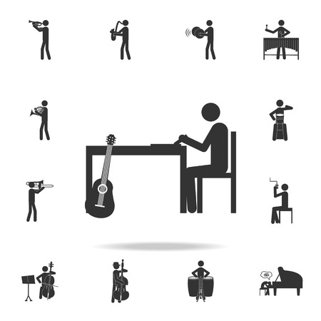 Songwriter on the table icon. Detailed set of music icons. Premium quality graphic design. One of the collection icons for websites web design mobile app on white background