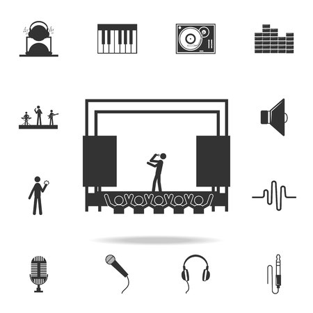 Singer on stage icon. Detailed set of music icons. Premium quality graphic design. One of the collection icons for websites web design mobile app on white background Illustration