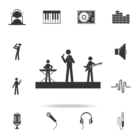 Musicians on a scene and play guitars icon. Detailed set of music icons. Premium quality graphic design. One of the collection icons for websites web design mobile app on white background