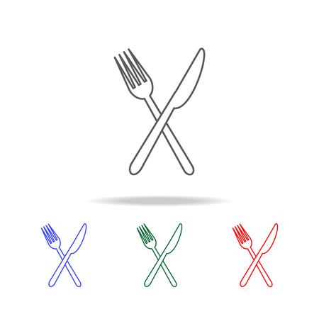 Knife and folk icon. Elements of fast food multi colored line icons. Premium quality graphic design icon. Simple icon for websites, web design, mobile app, info graphics on white background  イラスト・ベクター素材