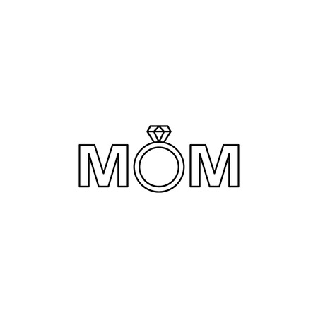 mom in diamond ring icon. Element of mother day for mobile concept and web apps. Thin line icon for website design and development app development. Premium icon on white background