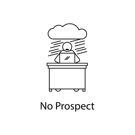 Worker in no prospect icon, element people at the workplace for mobile concept and web apps. Thin line icon for website design and development app development. Premium icon on white background.