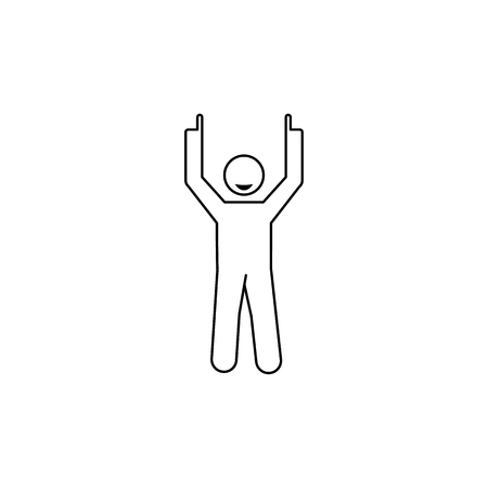 A man with indexed fingers icon, element of people celebrating for mobile concept and web apps. Thin line icon for website design and development app development. Premium icon on white background.
