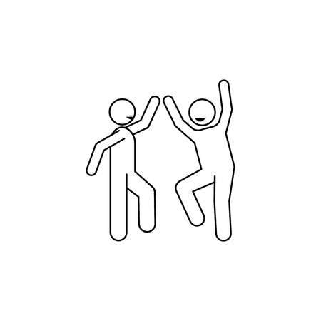 Two guys are dancing icon. Element of people celebrating for mobile concept and web apps. Thin line icon for website design and development app development.  イラスト・ベクター素材