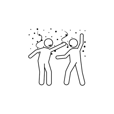 Dance icon element of people celebrating for mobile concept and