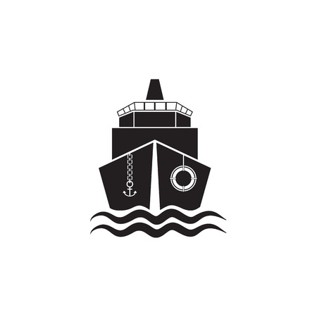 A ship front view icon. Element of ship illustration. Premium quality graphic design icon. Signs and symbols collection icon for websites, web design, mobile app on white background Фото со стока - 99511450