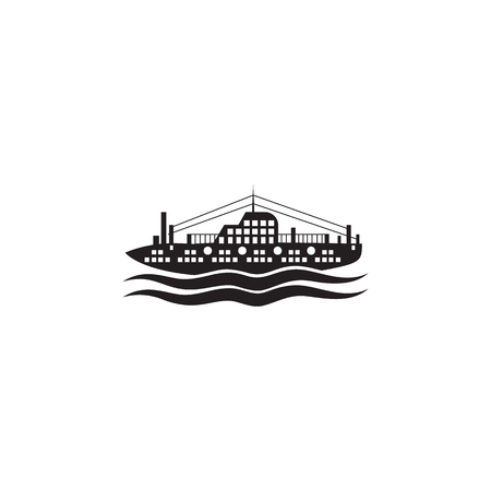 A passenger ship on the sea icon. Element of ship illustration. Premium quality graphic design icon. Signs and symbols collection icon for websites, web design, mobile app on white background Illustration