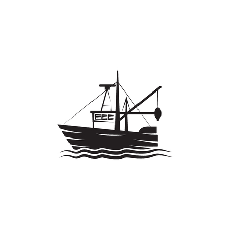 Fishing barge icon. Element of ship illustration. Premium quality graphic design icon. Signs and symbols collection icon for websites, web design, mobile app on white background Illustration