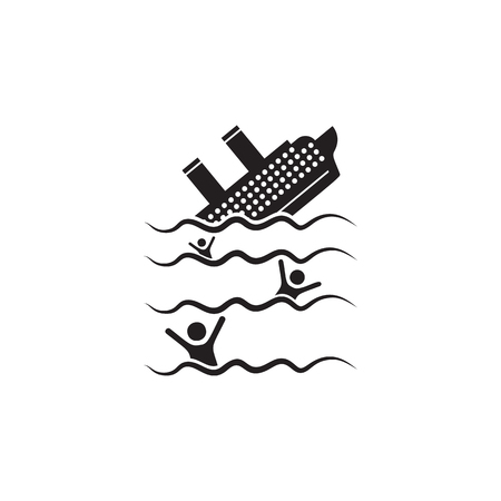 The ship is sinking icon. Element of ship illustration. Premium quality graphic design icon. Signs and symbols collection icon for websites, web design, mobile app on white background
