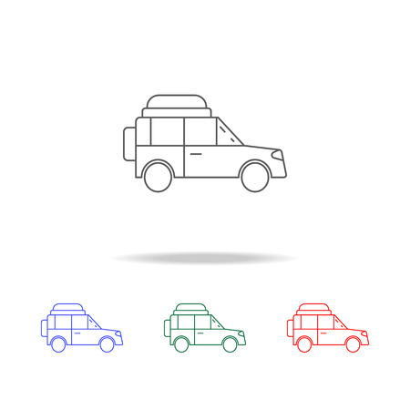 out-of-town car icon. Elements of camping multi colored icons. Premium quality graphic design icon. Simple icon for websites, web design mobile app, info graphics on white background Vettoriali