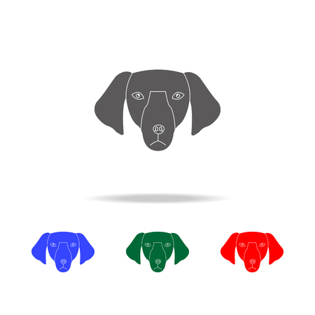 Dachshund face icon. Elements of dogs multi colored icons. Premium quality graphic design icon. Simple icon for websites, web design mobile app, info graphics on white background Illustration