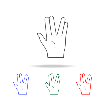 Hand sign two fingers spread apart icon. Elements of hands multi colored icons. Premium quality graphic design icon. Simple icon for websites, web design mobile app, info graphics on white background