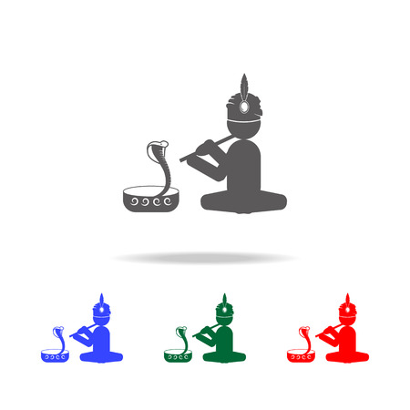 Snake charmer icon. Elements of Indian culture multi colored icons. Premium quality graphic design icon. Simple icon for websites, web design, mobile app, info graphics on white background Illustration
