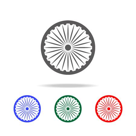 Ashoka Wheel Indian symbol - Ashoka Chakra icon. Elements of Indian culture multi colored icons. Premium quality graphic design icon. Simple icon for websites, web design on white background Illustration