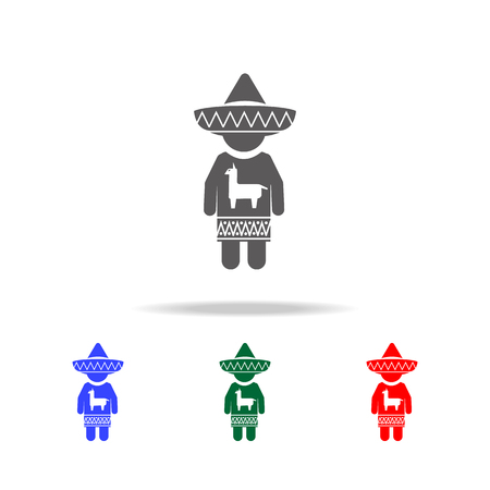 mexican in national dress icon.