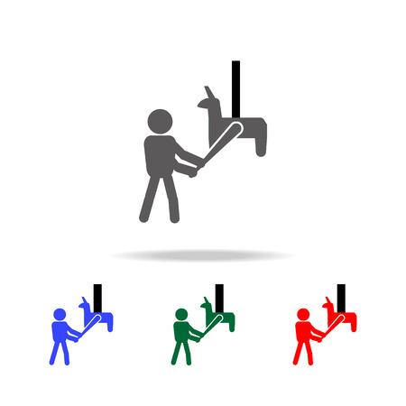 The man is smashing Pi ata icon. Illustration
