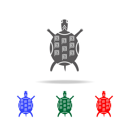 The painted Mexican tortoise icon. Elements of culture of Mexico multi colored icons. Premium quality graphic design icon. Simple icon for websites, web design, mobile app on white background