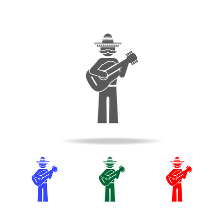 Mexican guitarist icon. Elements of culture of Mexico multi colored icons. Premium quality graphic design icon. Simple icon for websites, web design, mobile app, info graphics on white background