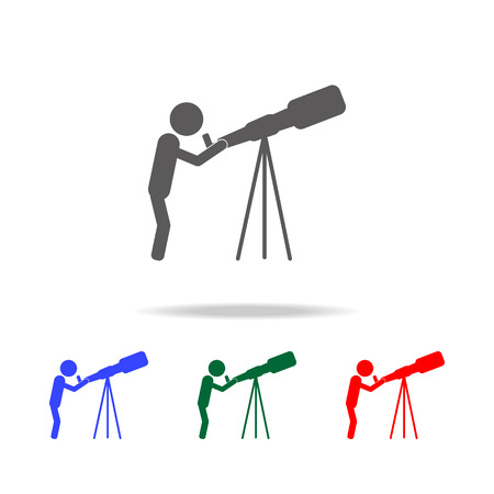Astronomy. scientist looking through a telescope icon. Elements of people profession in multi colored icons. Premium quality graphic design icon. Simple icon for websites on white background