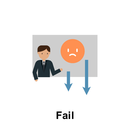 Fail color icon. Element of business illustration. Premium quality graphic design icon. Signs and symbols collection icon for websites, web design, mobile app on white background