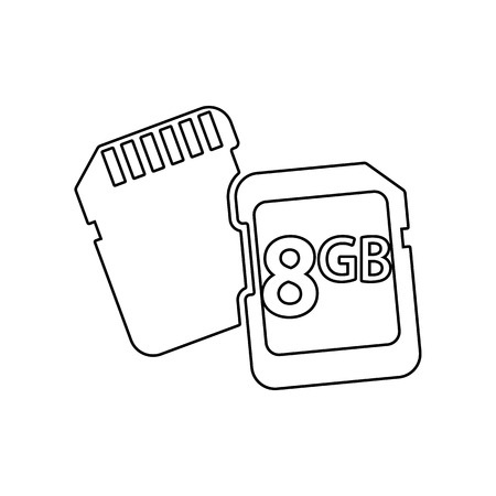 memory cards icon. Element of Equipment photography for mobile concept and web apps icon. Outline, thin line icon for website design and development, app development on a white background  イラスト・ベクター素材