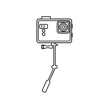 action camera icon. Element of Equipment photography for mobile concept and web apps icon. Outline, thin line icon for website design and development, app development on a white background  イラスト・ベクター素材