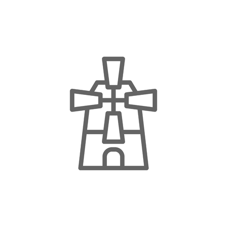 Portugal, windmill icon. Element of Portugal icon. Thin line icon for website design and development, app development. Premium icon  イラスト・ベクター素材