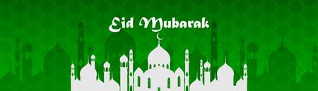Muslim abstract greeting banners. Islamic vector illustration at sunset. Calligraphic arabian Eid Mubarak in translation Congratulations! Ramadan Kareem in translation Generous Ramadan 向量圖像