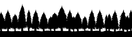 Trees, silhouette of forest, vector Illustration