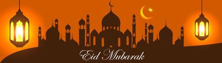 happy eid mubarak greetings background, Elegant element for design template, place for text greeting card for Ramadan kareem 向量圖像