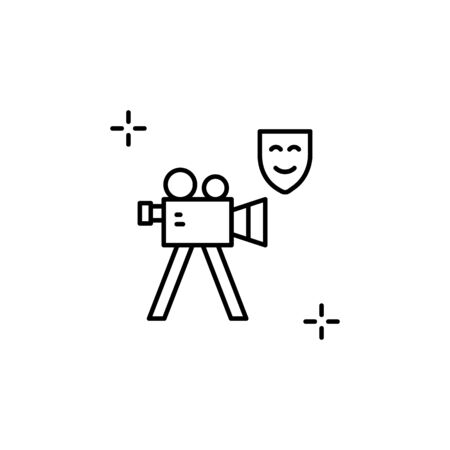 Video camera icon. Simple line, outline vector elements of theatre for ui and ux, website or mobile application