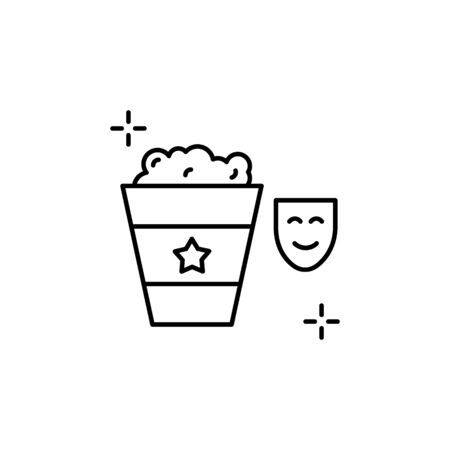 Popcorn icon. Simple line, outline vector elements of theatre for ui and ux, website or mobile application