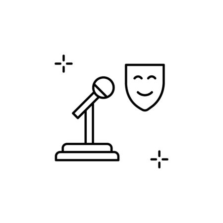 Microphone icon. Simple line, outline vector elements of theatre for ui and ux, website or mobile application